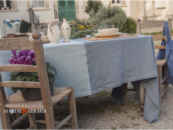 Linen Tablecloth Runners Blu Avio Heavenly Color Amsterdam