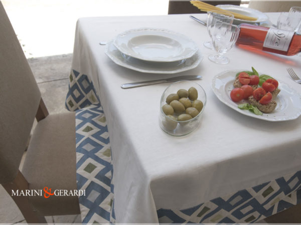 Modern Liinen Tablecloths Deco Italinan Design Blue White