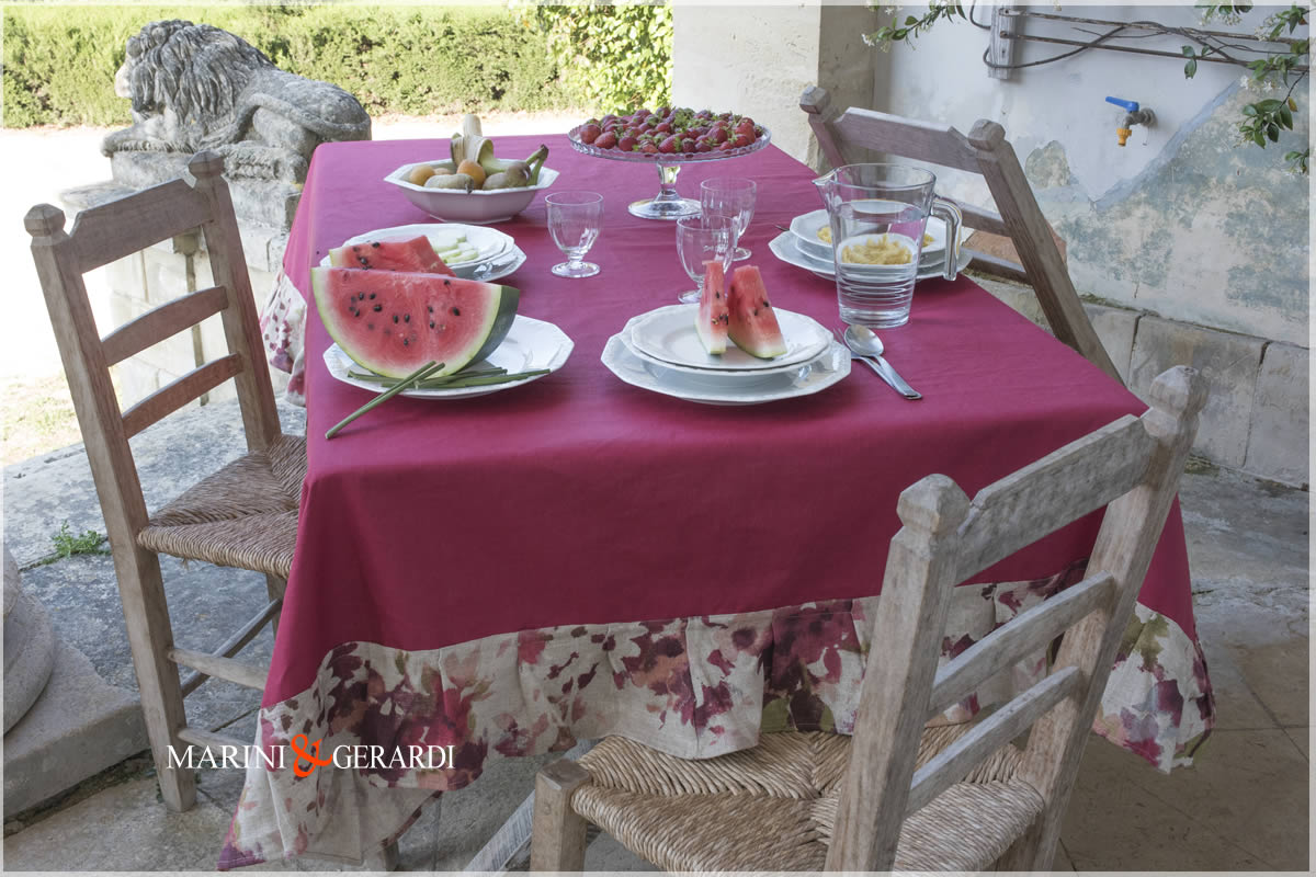 Red Grape Linen Tablecloths Stain Resistent Dolce Vita
