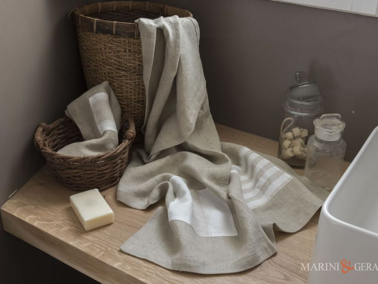 Bad Leinen Handtuch Chic Anwendungen Streifen X18 Kaffee Milch