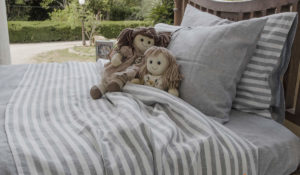 Bed Soft Linens Set Small Stripe Volcanic Ash Sheet THE DUNE
