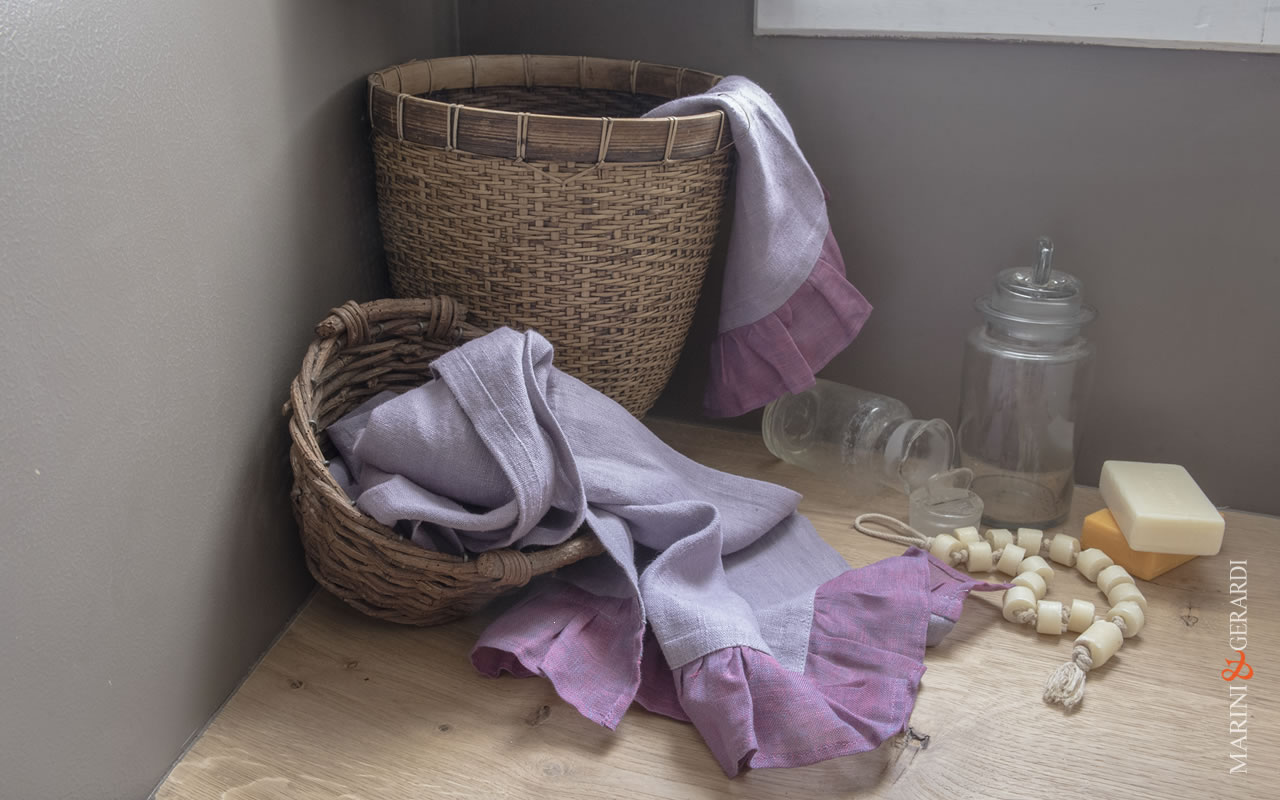Italian Bath Linen Towel Set Wisteria Color