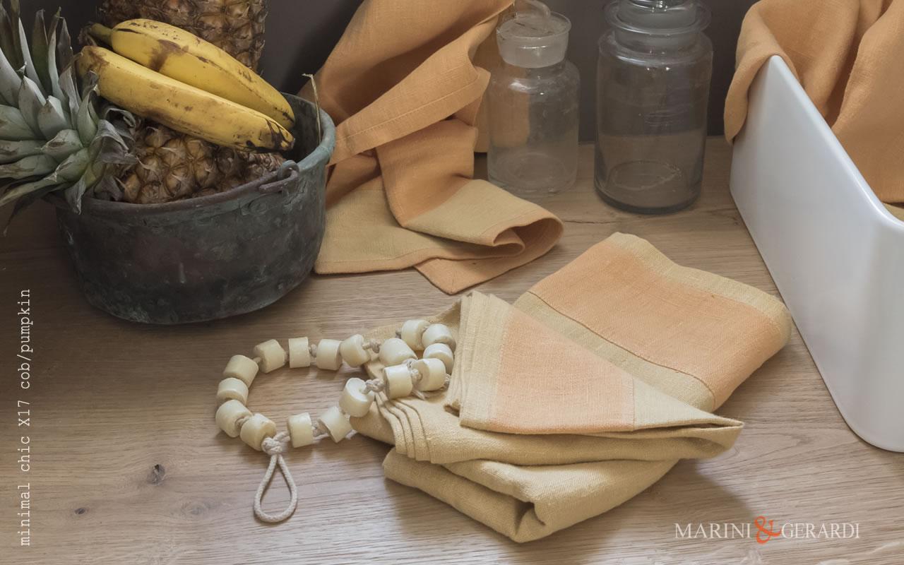Italian Bath Linen Towel With Applications X17 COLORS: Cob Pumpkin
