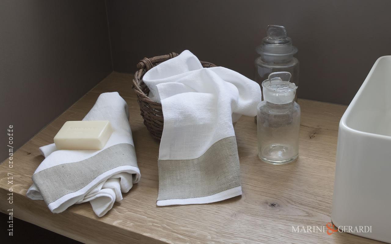 Italian Bath Linen Towel set With Applications X17 COLORS: Cream / Coffe