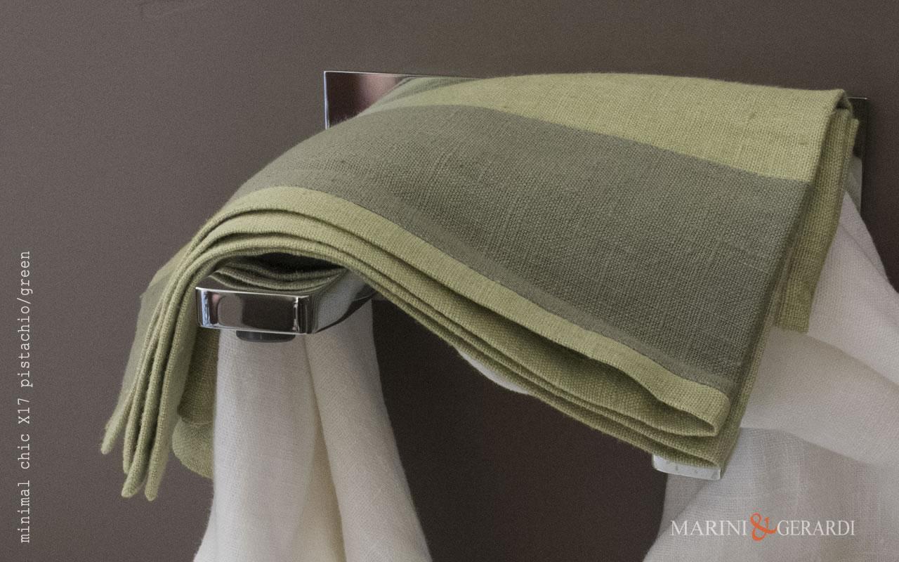 Italian Bath Linen Towel With Applications X17 COLORS: Pistachio / Green