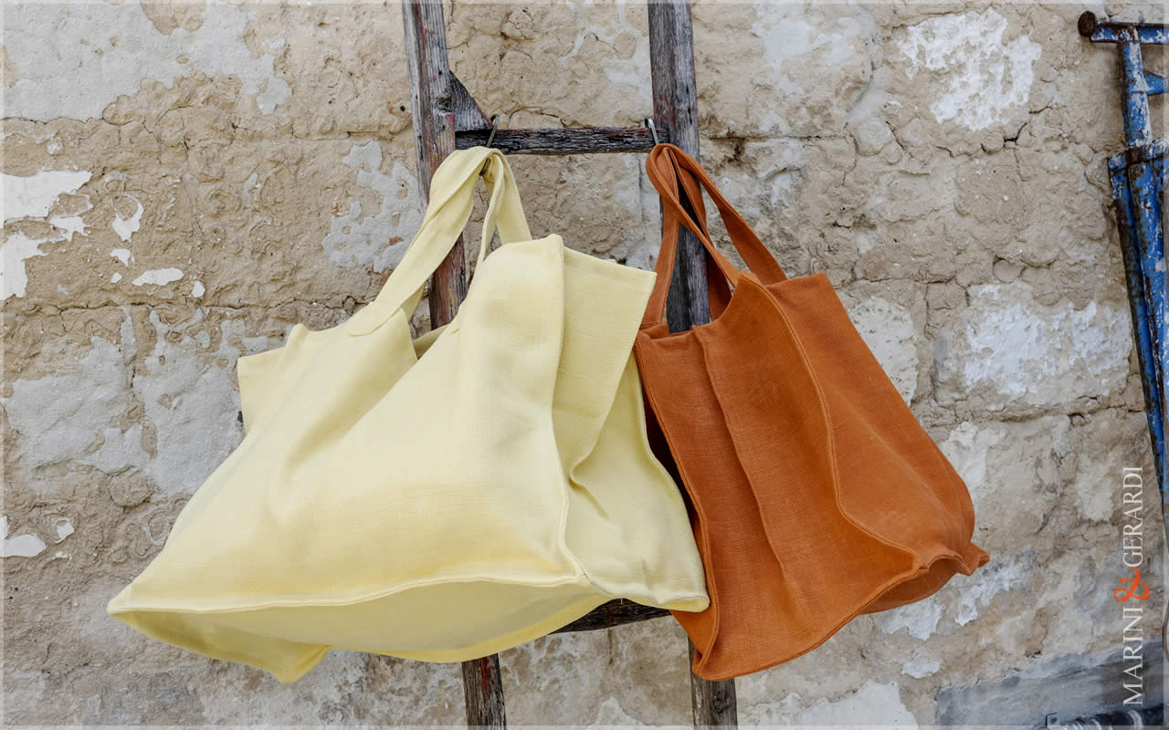 Italian Fashion Handbag Stonewashed Yute Patty Yellow Orange