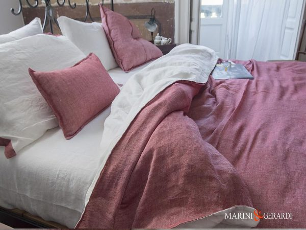 Italian Linen Duvet Cover Red Pomegranate White Granmother Adele