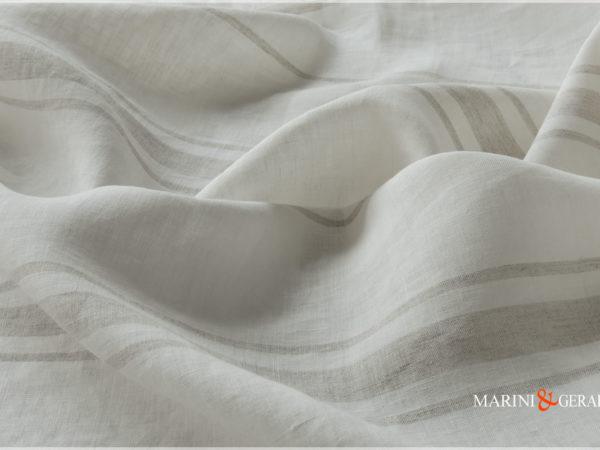 Italian Linen Fabric Rows Gray Light For Curtains Tablecloths 02