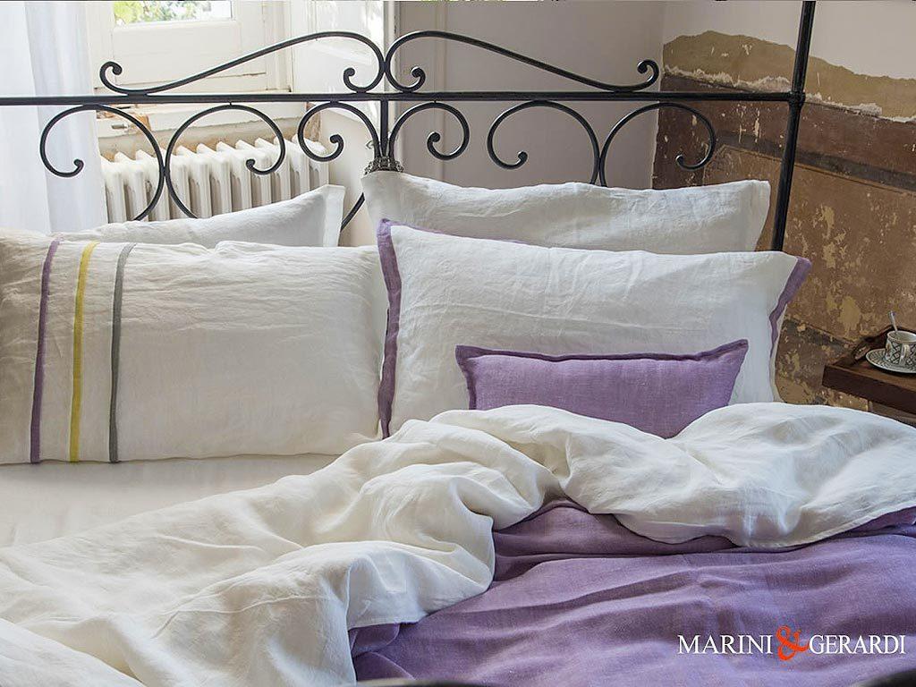 Italian Linen Sheet Duvet Cover Wisteria White Granmother Adele