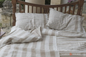 Luxury Linen Sheet Duvet Cover with pillows Cappuccino Handicrafted In Italy
