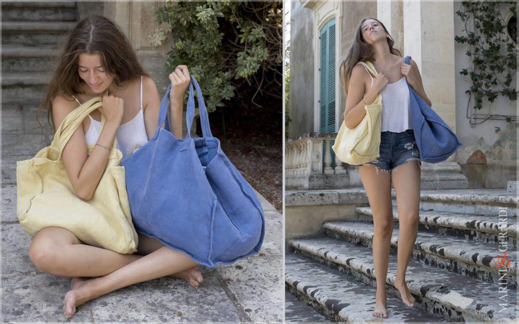 Modern Italian Daily Handbag Stonewashed Yute Patty Bluette