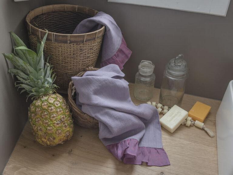 Natural Bath Linen Towel Set Wisteria Color