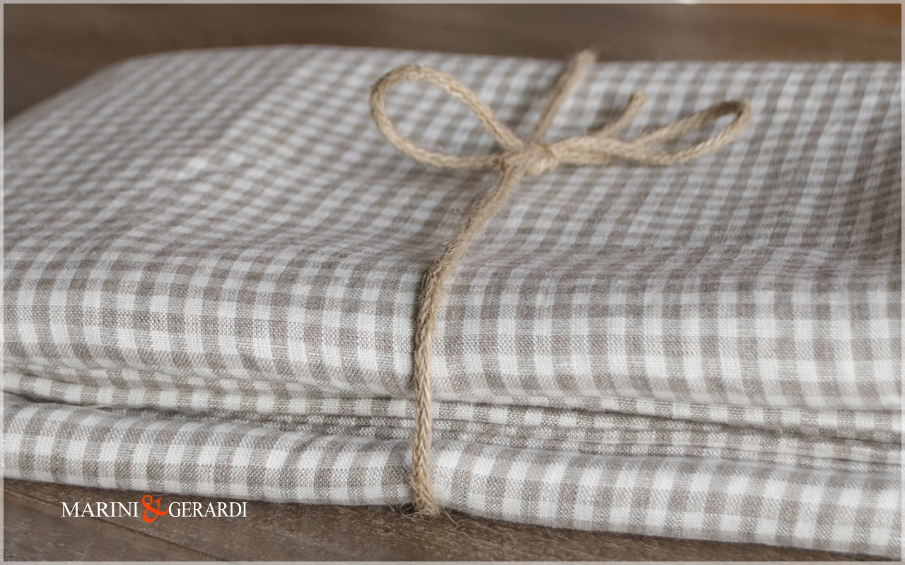 Natural Checked Linen For Tablecloth And Curtains
