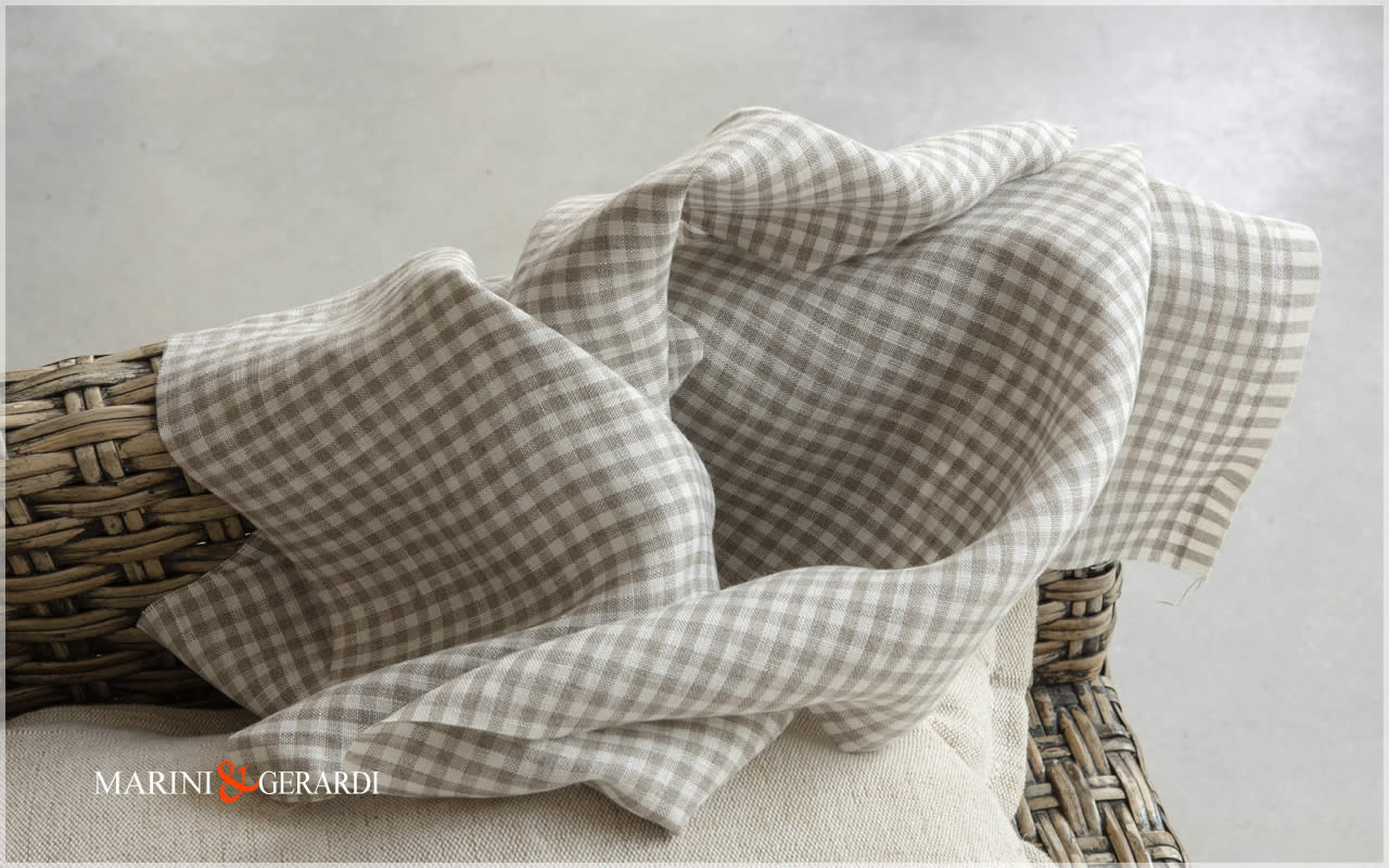 Natural Checked Linen For Tablecloths