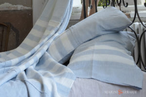 Striped Duvet Cover Cerulean Blue Linen Crafted In Italy