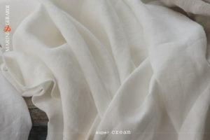 Crumpled Linen Fabrics Curtains Acaya Super Cream
