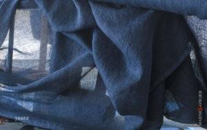 Jeans Pure Linen Fabrics crumpled