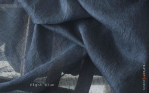 Night Blue Pure Linen Fabrics crumpled