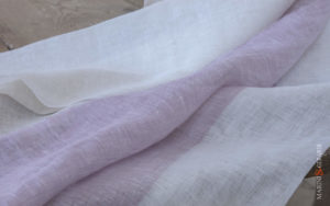 linen fabric white rose geranim stripes Desert Rose
