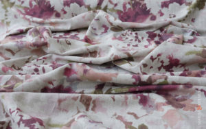 upholstery linen fabric curtains fuchsia sea flowers