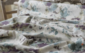 upholstery linen fabric for curtains teal sea flowers