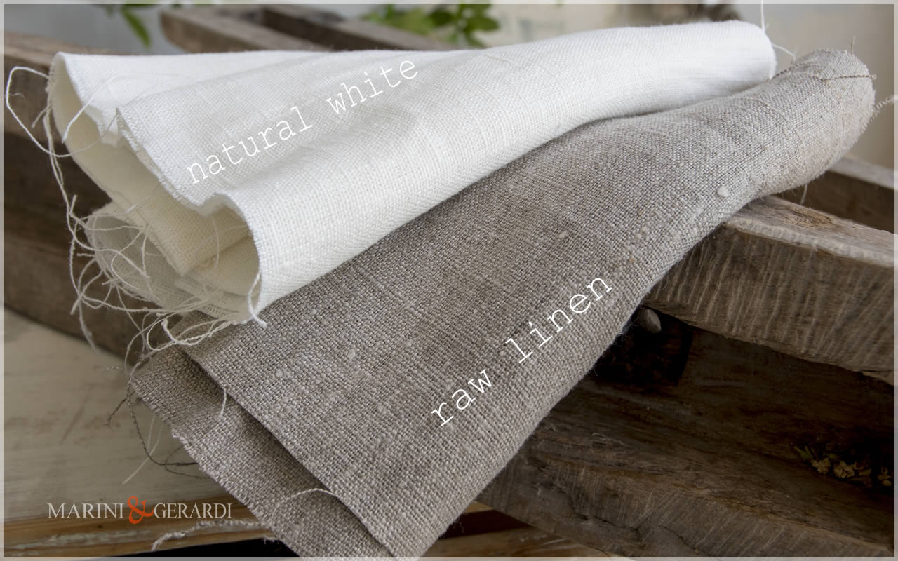 Rustic linen fabric Natural Natural White & Natural Rough- Naked Rough Italian Linen