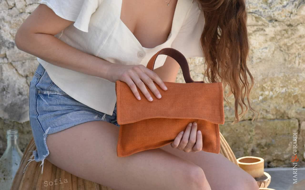 Clutch Bags Sofia orange color design