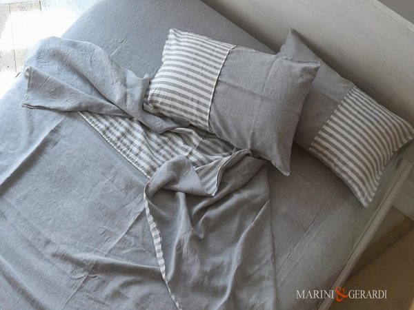 Italian Linen Bedding Small Stripe For Sheet Volcanic Ash Pentagram
