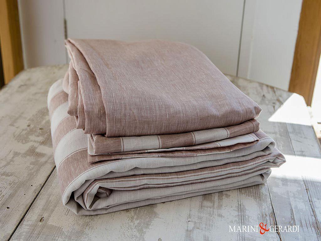 Italian Linen Fabric For Sheet Rose Wine Stripe Pentagram