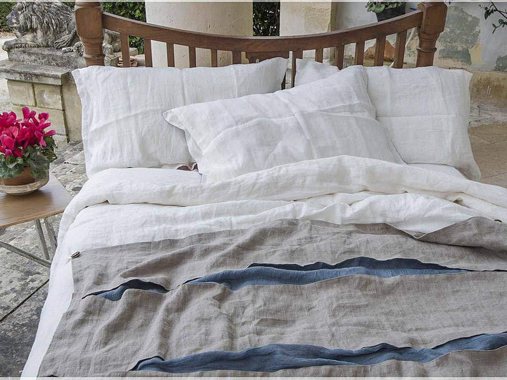 Linen Bedding Duvet Cover Endless 2 White Rough Cuts Stripe
