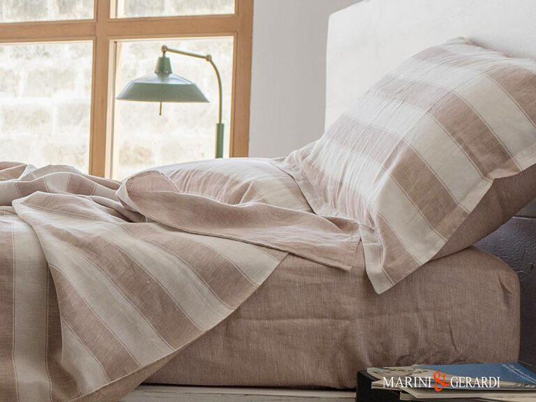 Italian Linen Duvet Cover with Stripe Rose Wine