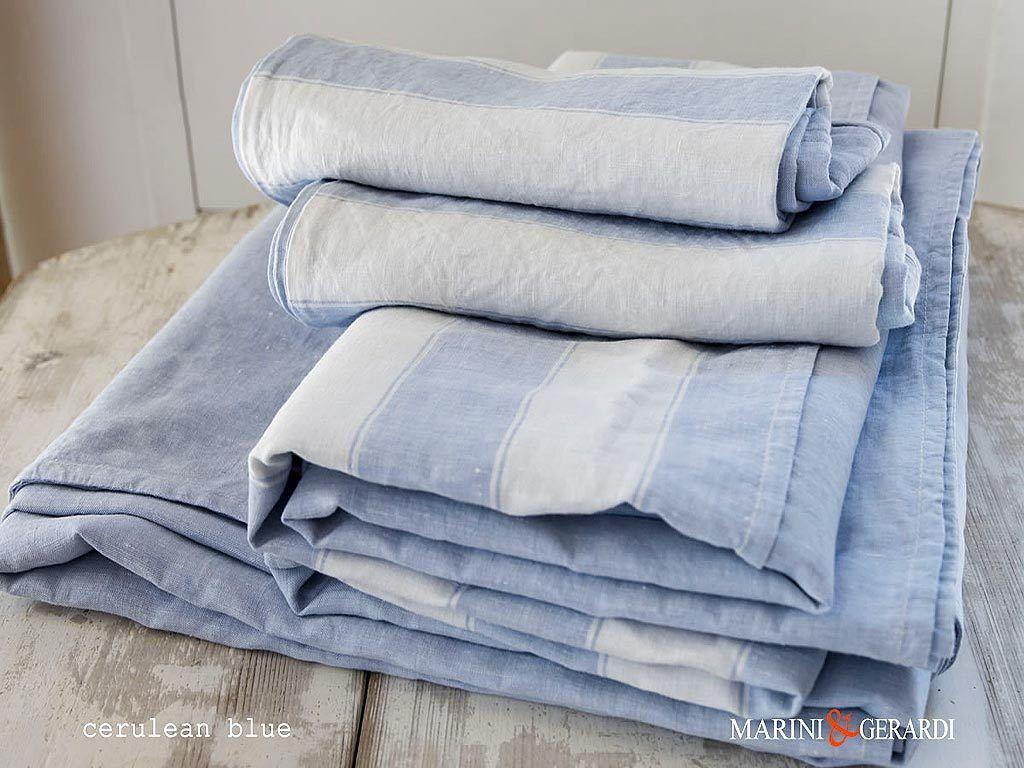 Luxury Italian Linen Fabric For Sheet Cerulean Blue Pentagram