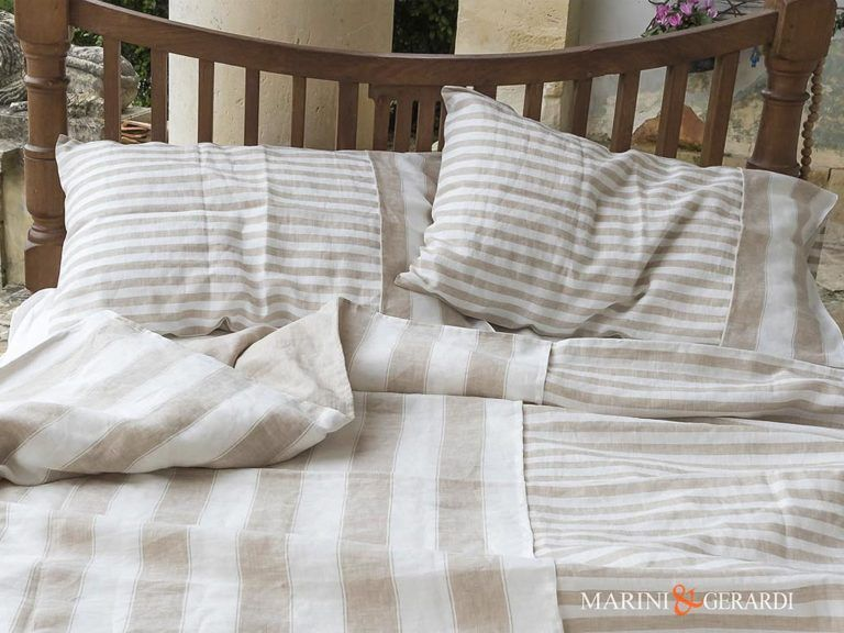 Luxury Linen Sheet Duvet Cover Cappuccino Handicrafted In Italy