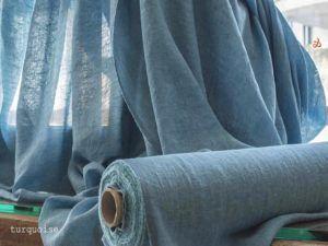 Curtain Linen Colour Stripe Turquoise C38 FF395