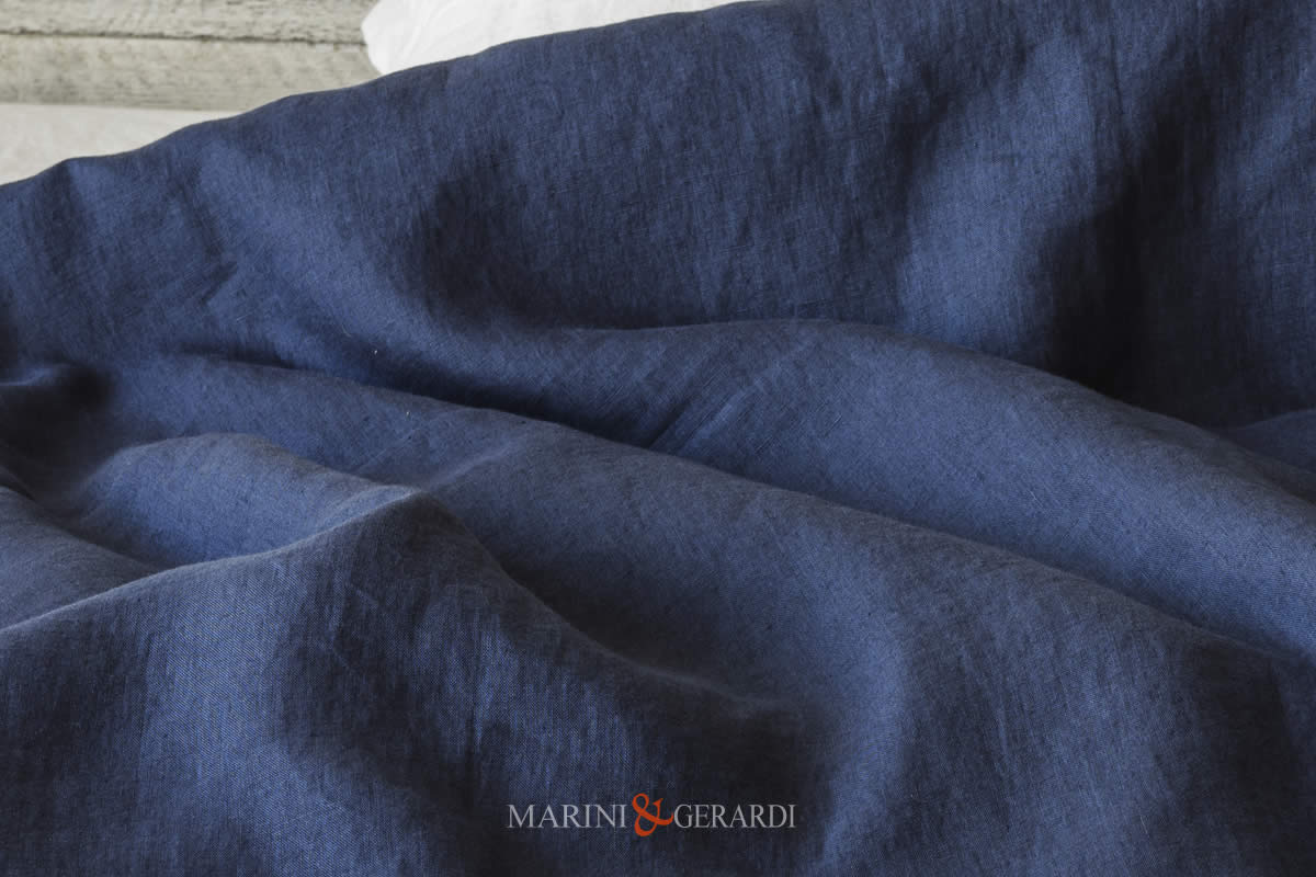 Stone Washed Linen Blue Navy Italian Quality