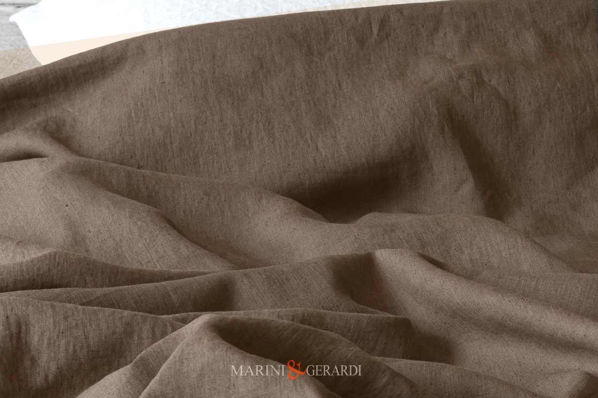 Stone Washed Linen Chestnut Color Italian Quality 01