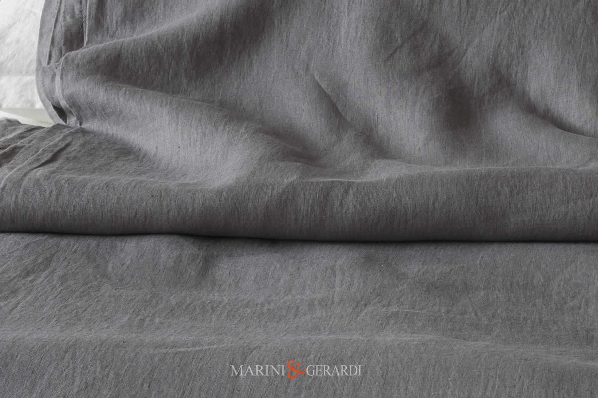 Stone Washed Linen, Grey Smoking Colour, Italian Quality