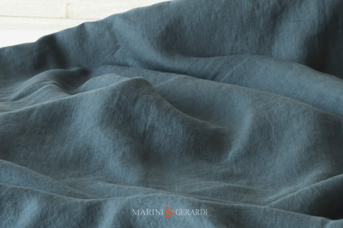 Stone Washed Linen Petroleum Color Italian Quality